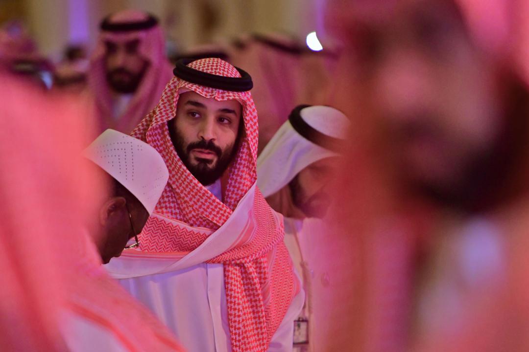2018年10月24日,沙特阿拉伯王儲穆罕默德・薩勒曼(Mohammad bin Salman)在沙特首都利雅德出席一個投資論壇。 攝:Giuseppe Cacace / AFP / Getty Images