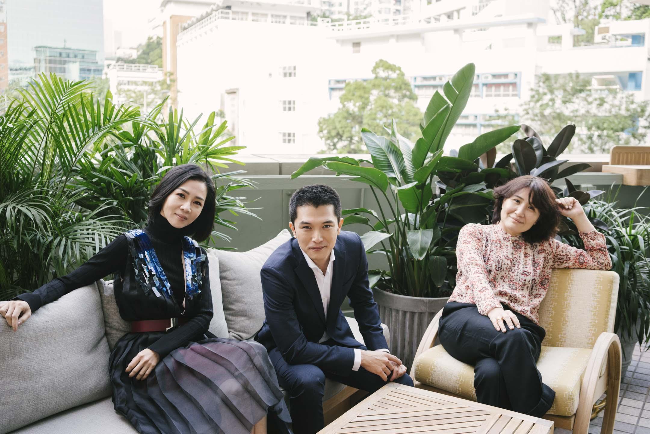 《誰先愛上他的》女主角謝盈萱、男主角邱澤及編劇徐譽庭。 攝:陳朗熹/端傳媒