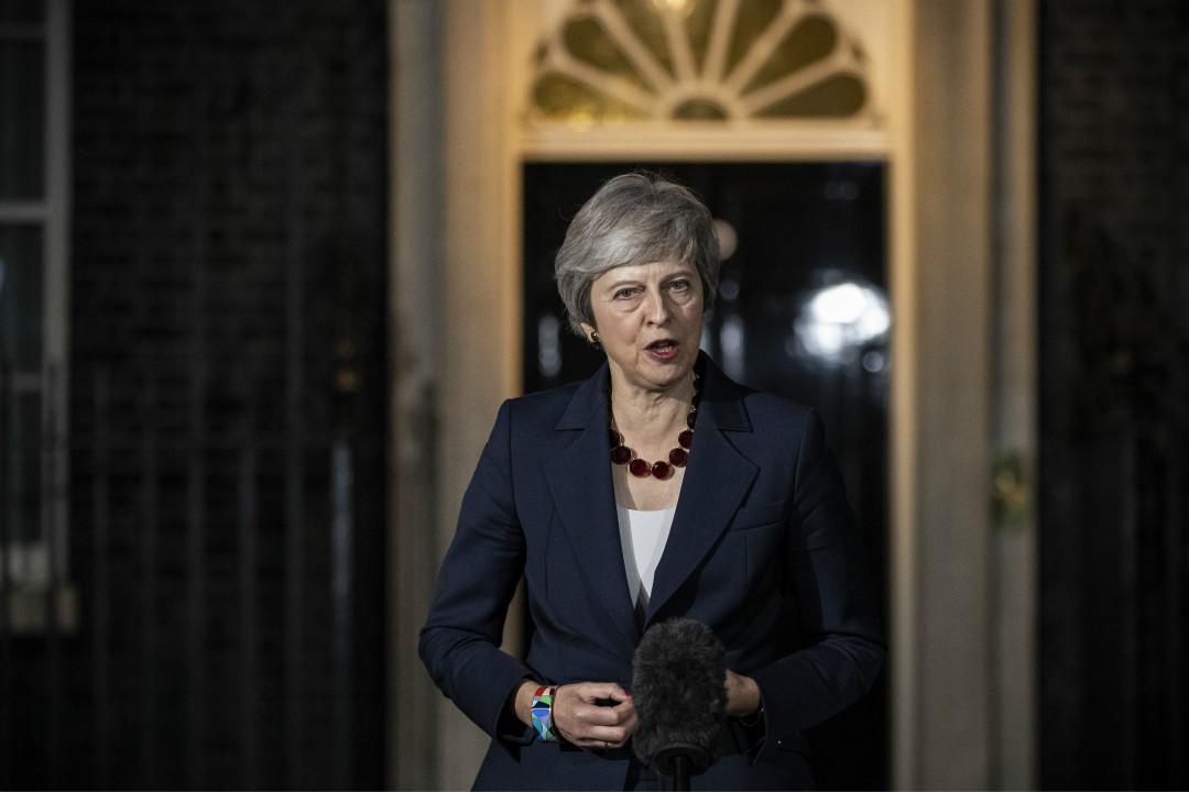 2018年11月4日,英國首相文翠珊(Theresa May)在唐寧街發表聲明,指英國脫歐協議草案已獲得內閣高級成員支持。 攝:Dan Kitwood/Getty Images