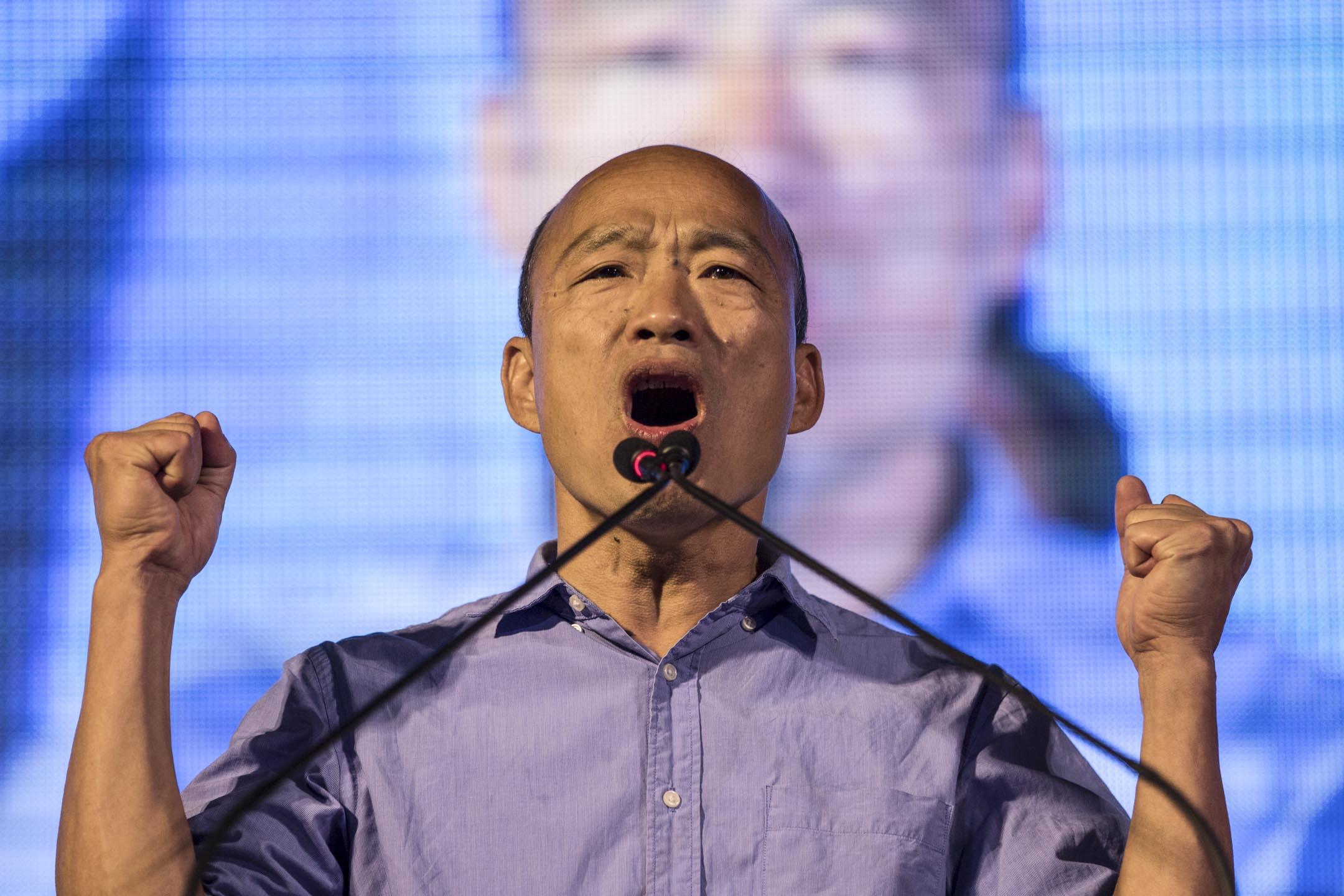 高雄市國民黨候選人韓國瑜,晚上宣布當選高雄市長,終結民進黨在高雄20年的執政。 攝:Stanley Leung/端傳媒