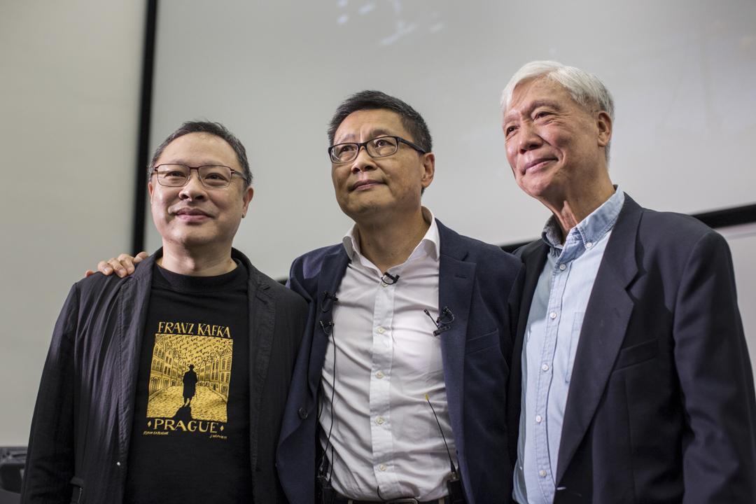 2018年11月14日,香港中文大學教授陳健民在中大舉行告別演講,戴耀廷與朱耀明出席聽課。 攝:林振東/端傳媒