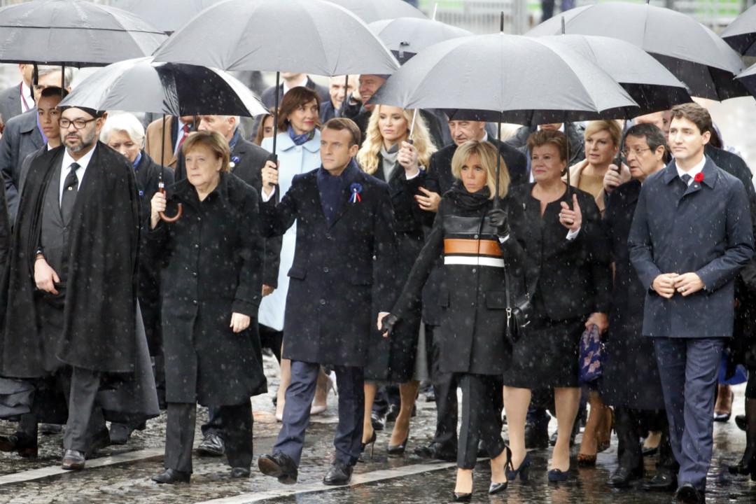 2018年11月11日,第一次世界大戰結束100週年紀念儀式在法國巴黎舉行,多國領導人出席紀念活動。 攝:Chesnot/Getty Images