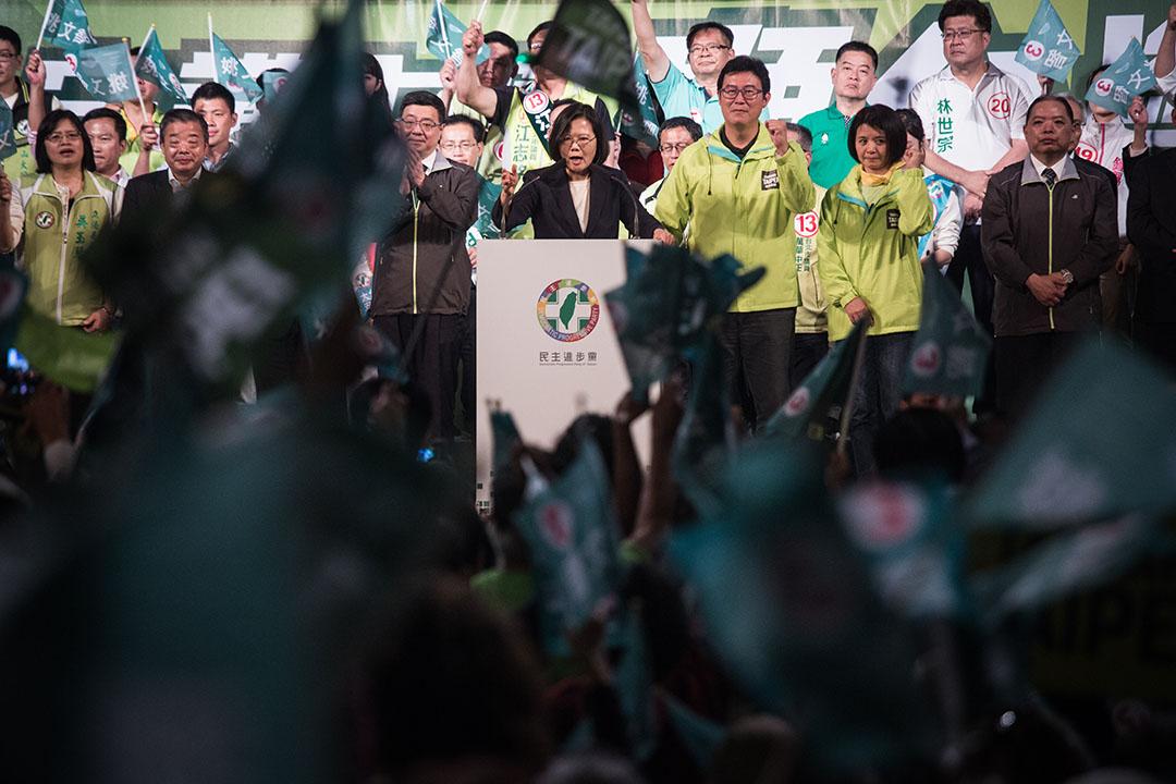 2018年11月21日,蔡英文在姚文智的造勢晚會上。