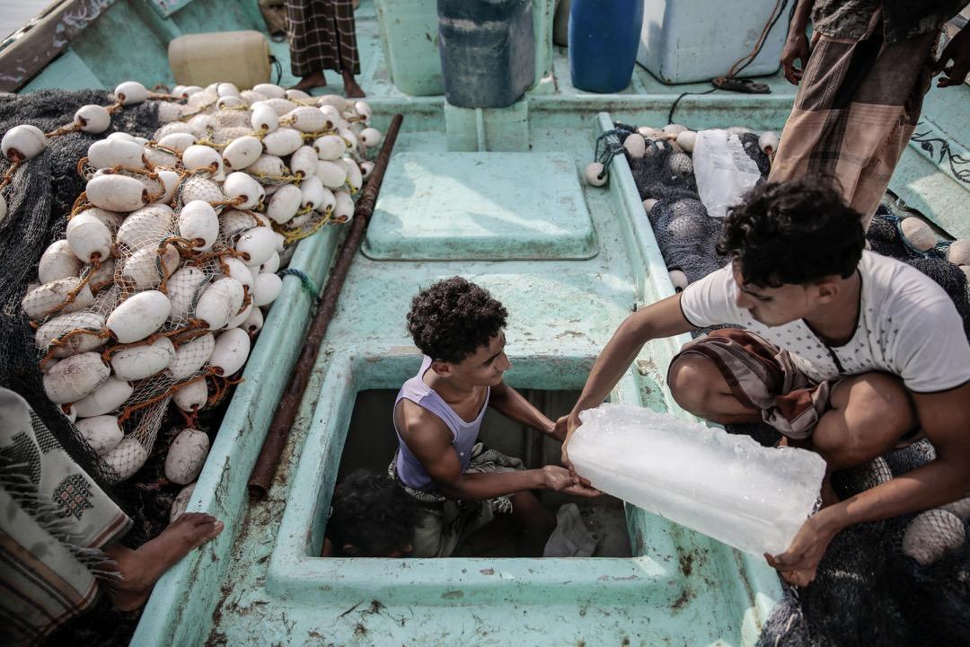 漁民將冰塊搬進船裏,為保持漁獲新鮮。
