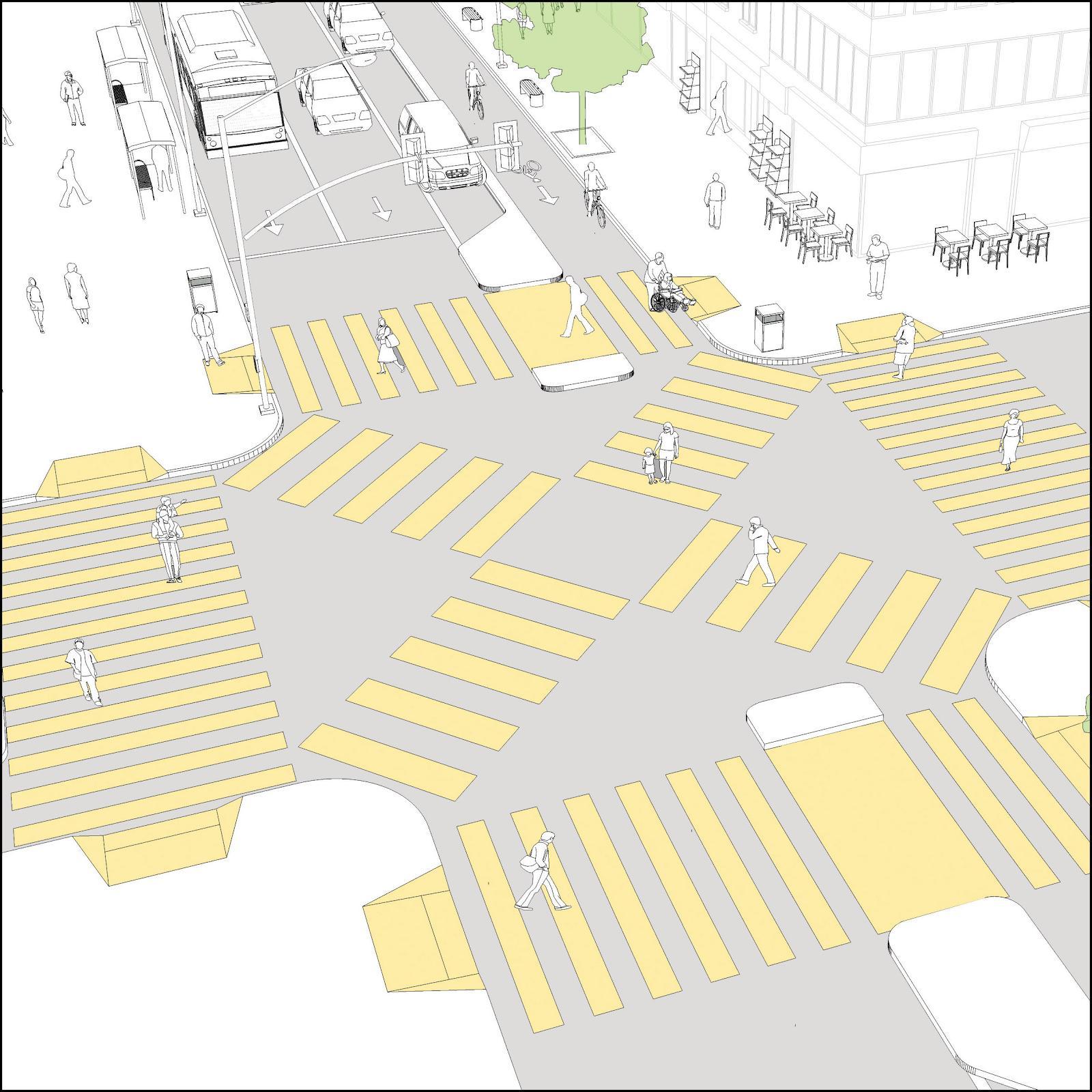 對角過路處的設計尤其適用於行人流量龐大的位置,綠燈期間容許行人從四面方向同時過路,其時所有車輛靜候等待,從而減少行人與車輛相撞的機會。