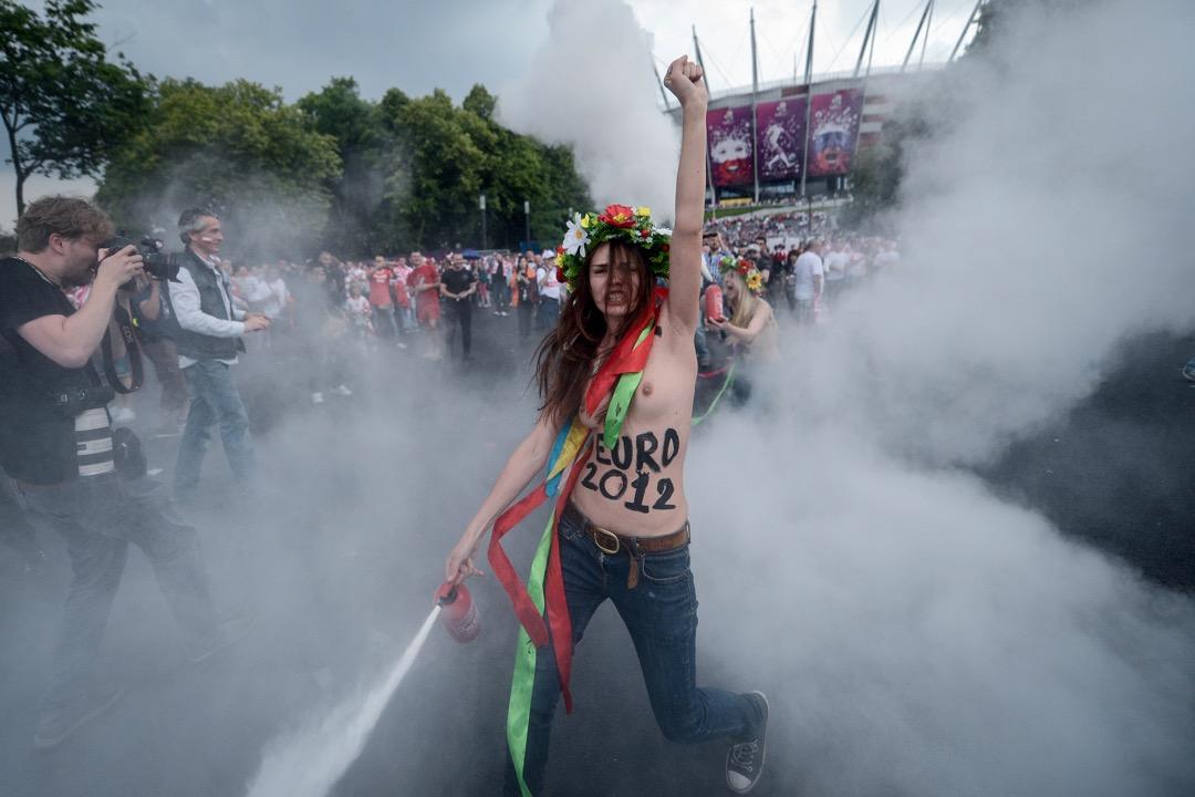 波蘭華沙,費曼於2012年歐洲國家杯期間的一次行動。