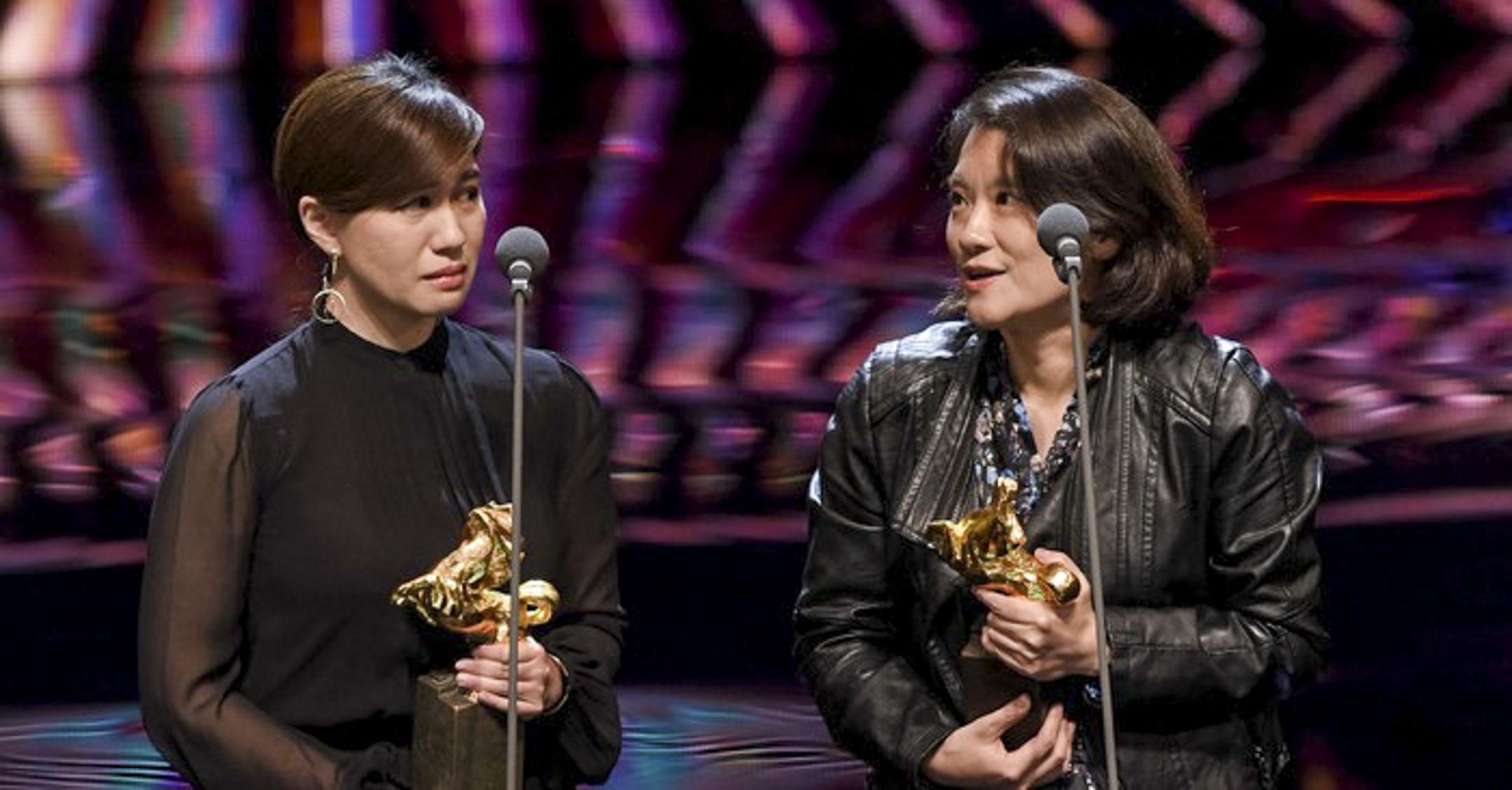 《我們的青春在台灣》得到金馬獎「最佳紀錄片」,導演傅榆與製片人洪廷儀發表獲獎感言。 網上圖片