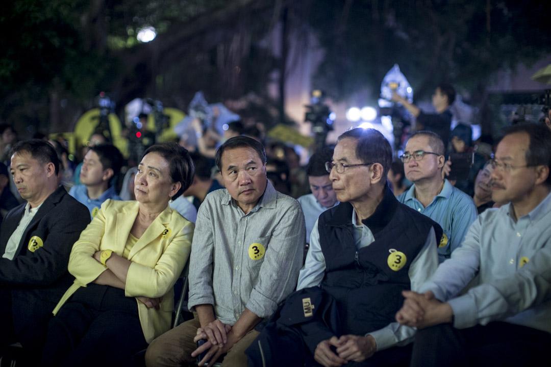 2018年11月16日,李永達等民主派人士出席九龍西立會補選候選人李卓人的造勢大會。