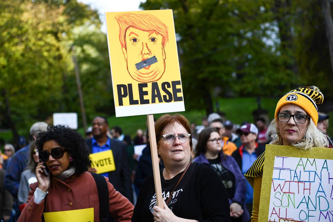 2018年10月30日,賓夕法尼亞州匹茲堡有集會抗議總統特朗普到訪。