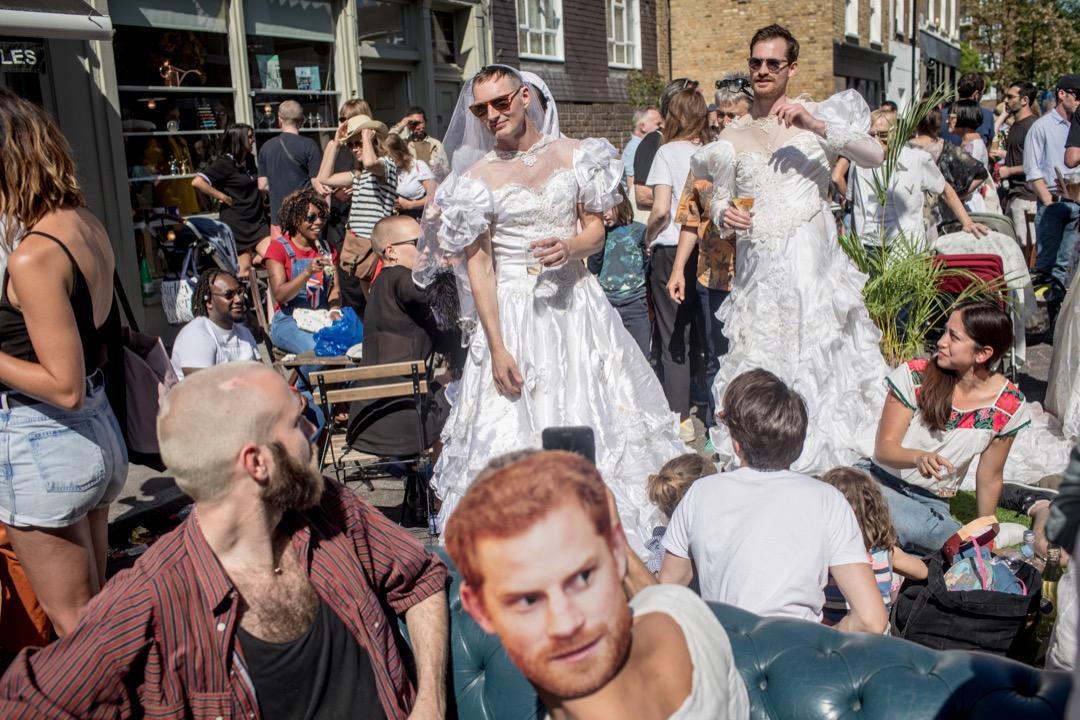 2018年5月19日,英國溫莎鎮,民眾到街頭參與派對慶祝哈里王子與梅根結婚。