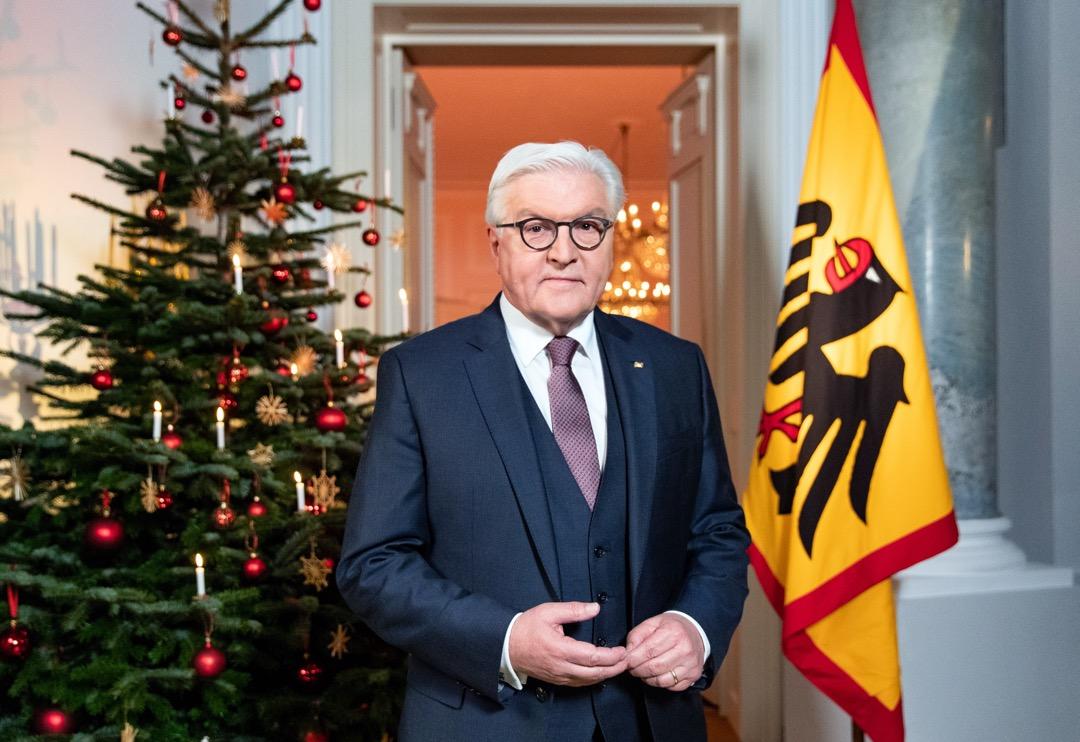 德國總統施泰因邁爾發表聖誕致詞:「沉默不語即是意味着停滯不前。」 攝:Hayoung Jeon/Pool via EPA/Imagine China
