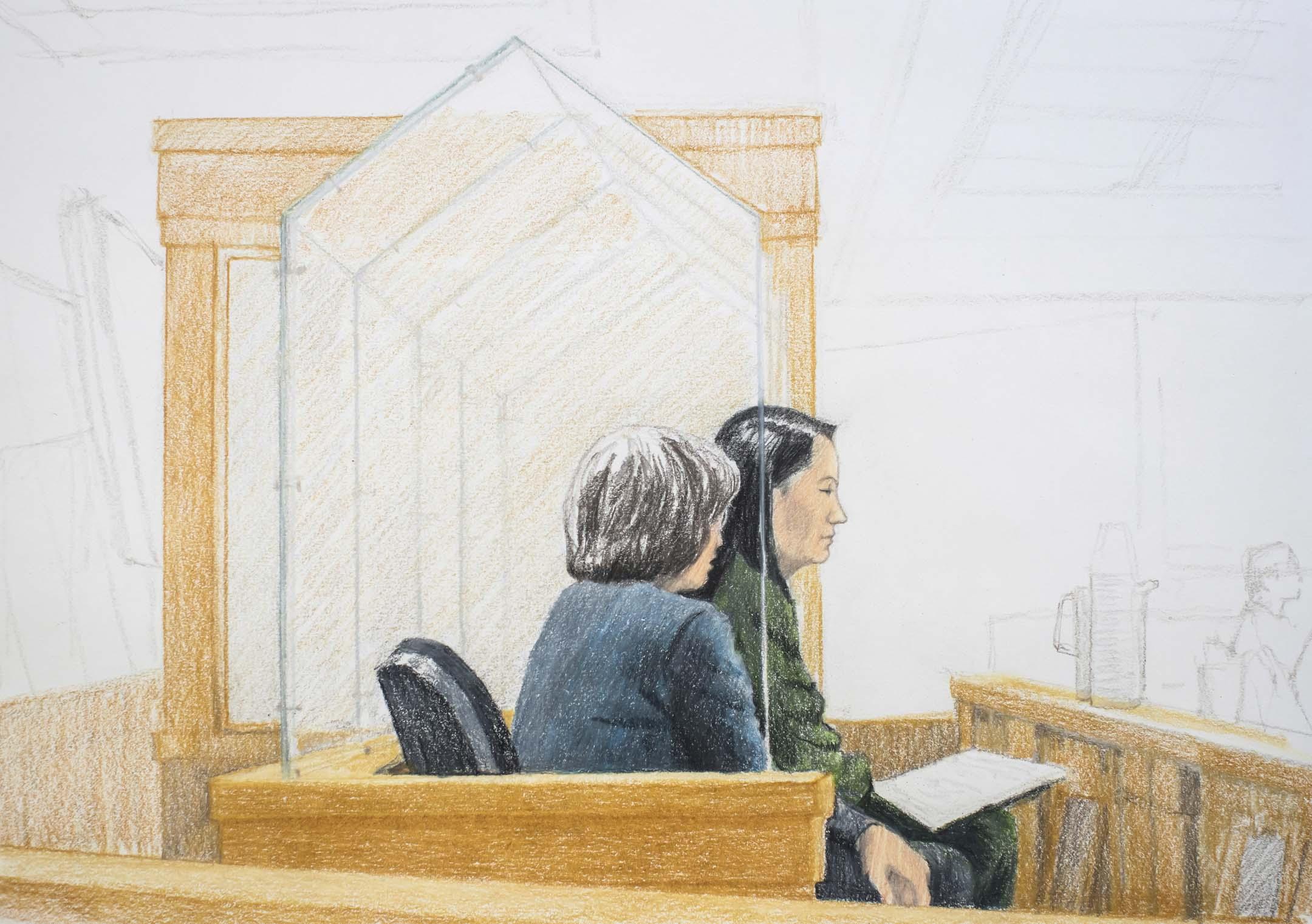 當地時間2018年12月7日,加拿大司法部對孟晚舟進行保釋聽證,圖為聽證會上身著深綠色毛衣套裝的孟晚舟(右)。