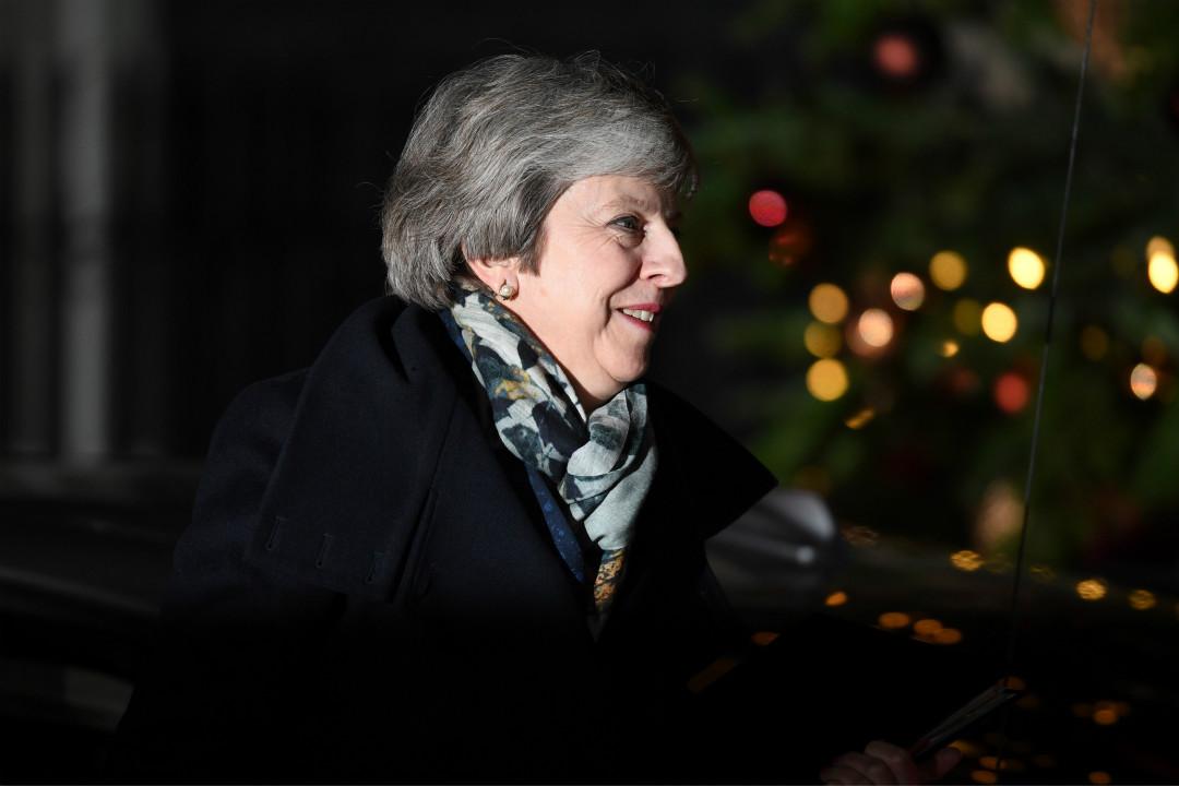 2018年12月12日,英國首相文翠珊(Theresa May)贏得不信任投票,返回唐寧街。 攝:Leon Neal/Getty Images