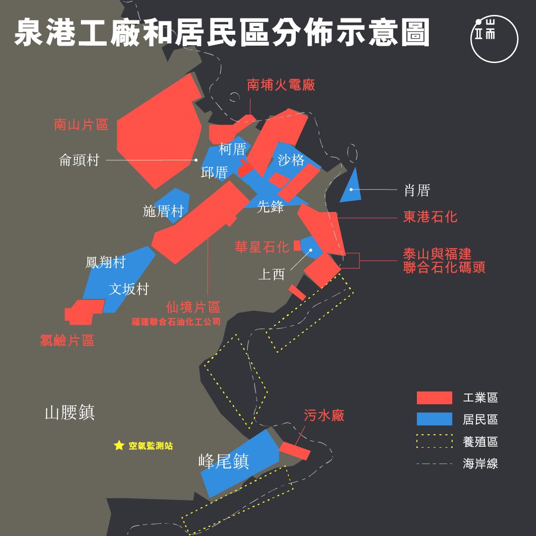 泉港工廠和居民區分佈示意圖
