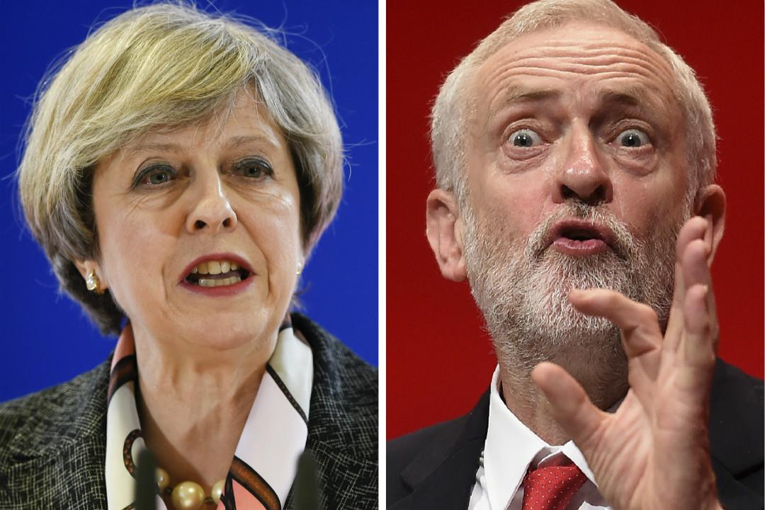 英國首相文翠珊(Theresa May,左)和工黨領袖科爾賓(Jeremy Corbyn)。 攝:Getty Images