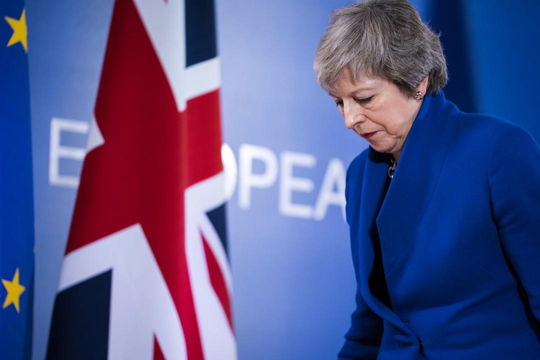 2018年11月25日,英國首相文翠珊到比利時布魯塞爾出席歐洲理事會特別會議。 攝:Jasper Juinen/Bloomberg via Getty Images