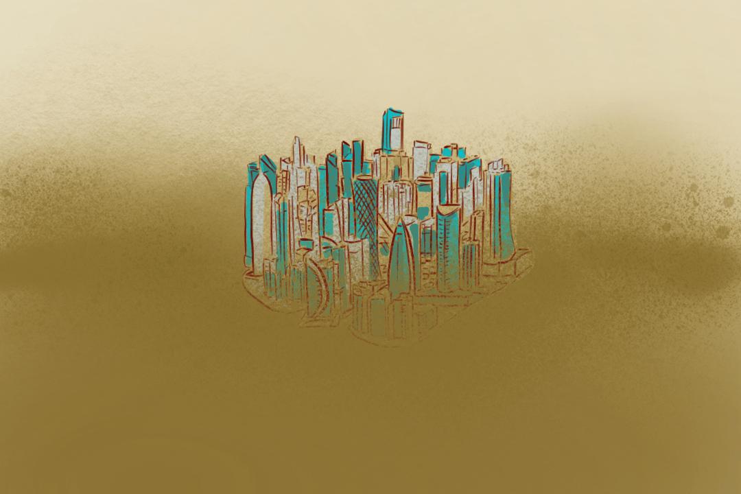 複製了「用石油換金錢」以及「在沙漠起高樓」模式的海灣國家。 插畫:Rosa Lee