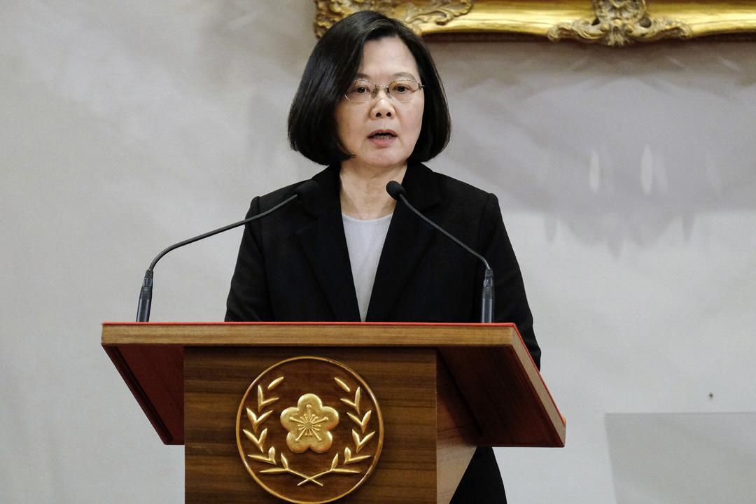 2019年1月2日,為回應中國國家主席習近平發表的《告台灣同胞書》40週年談話,台灣總統蔡英文召開記者會,重申不接受「九二共識」、「一國兩制」。 攝:Sam Yeh / AFP / Getty Images