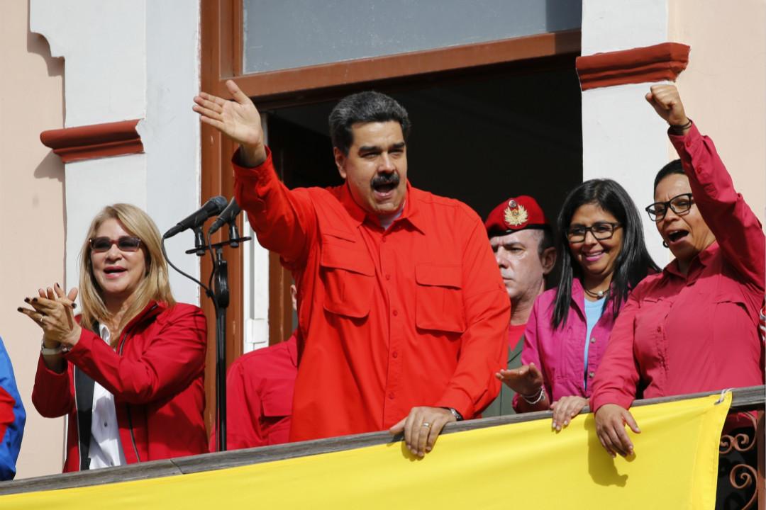 2019年1月23日,委內瑞拉總統馬杜羅在首都加拉加斯舉行集會,向支持者宣布與美國斷交。 攝:Imagine China