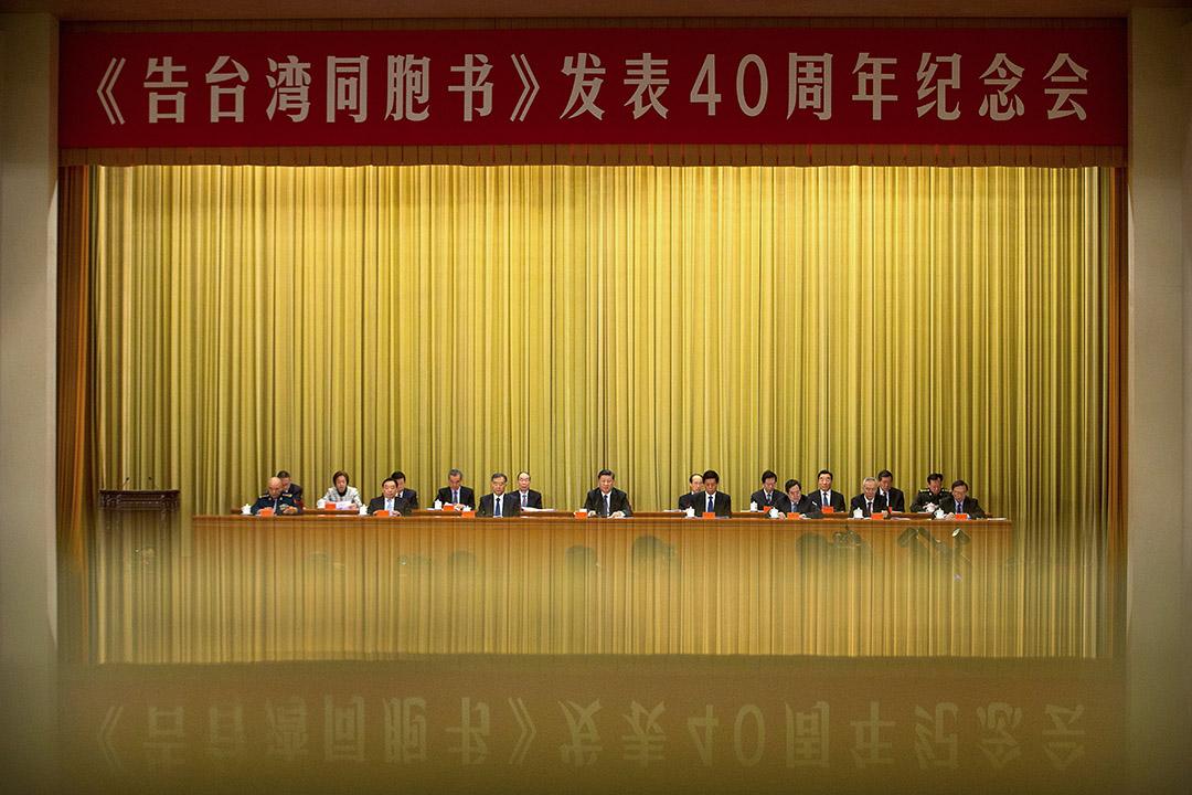 除了主軸圍繞「兩岸」(72次)、「同胞」(61次)、「台灣」(53次)、「中國」(44次),值得注意的是,習近平整場談話中僅出現兩次「九二共識」,數度強調一中原則、和平統一。