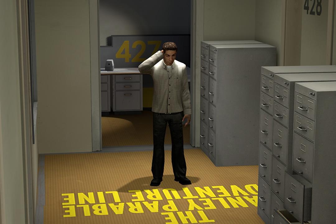 在近年最負盛名的元遊戲《史丹利的寓言》(The Stanley Parable)中,一個神秘聲音始終指引着玩家的選擇。
