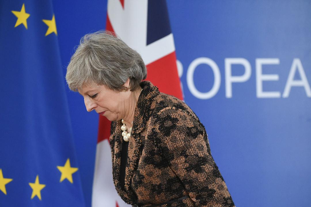2018年12月14日在比利時布魯塞爾,英國首相文翠珊(Theresa May)出席對歐談判後的記者會。 攝:John Thys / AFP / Getty Images