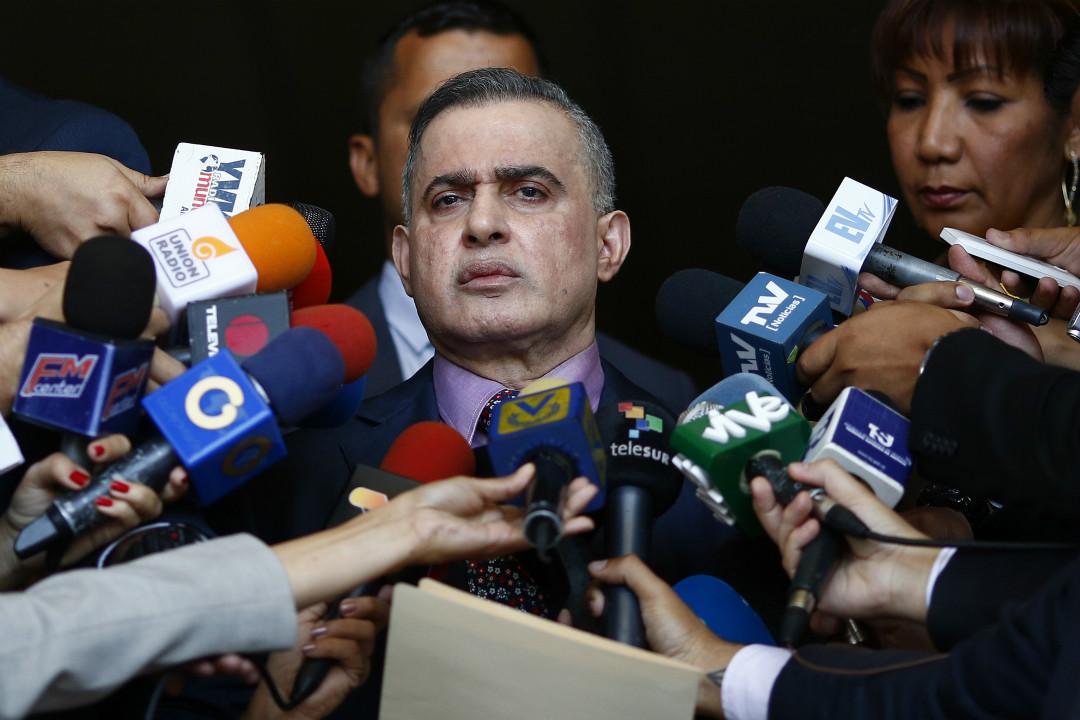 2019年1月29日,委內瑞拉總檢察長薩博(Tarek Saab)宣布對反對派領袖瓜伊多(Juan Guaido)進行調查。 攝:Marco Bello/Getty Images