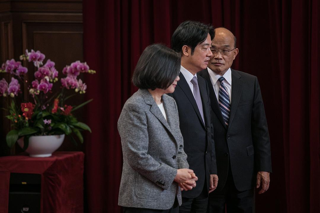 2019年1月11日,台灣總統蔡英文召開記者會,宣布任命蘇貞昌出任行政院院長,接替總辭的原任院長賴清德。 攝:陳焯輝 / 端傳媒