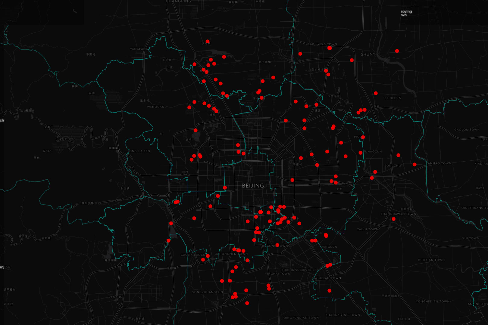 北京驅逐外地居民事件發生之後,一個名叫 「北京切除」 的項目吸引了近三百個關心此事的微信用戶加入了一個群組,而在 「Beijing,Solidarity」 帖子發出後,「清退預警地圖」 工作組也順應着 「去現場」 的需要建立起來了,成為完全由志願者建立起並定期更新的地圖。端傳媒2017年依據志願者和各媒體提供的數據,製作了《數據動畫帶你看:北京清退「低端人口」,影響多大?未來如何?》,這是其中一張截圖。