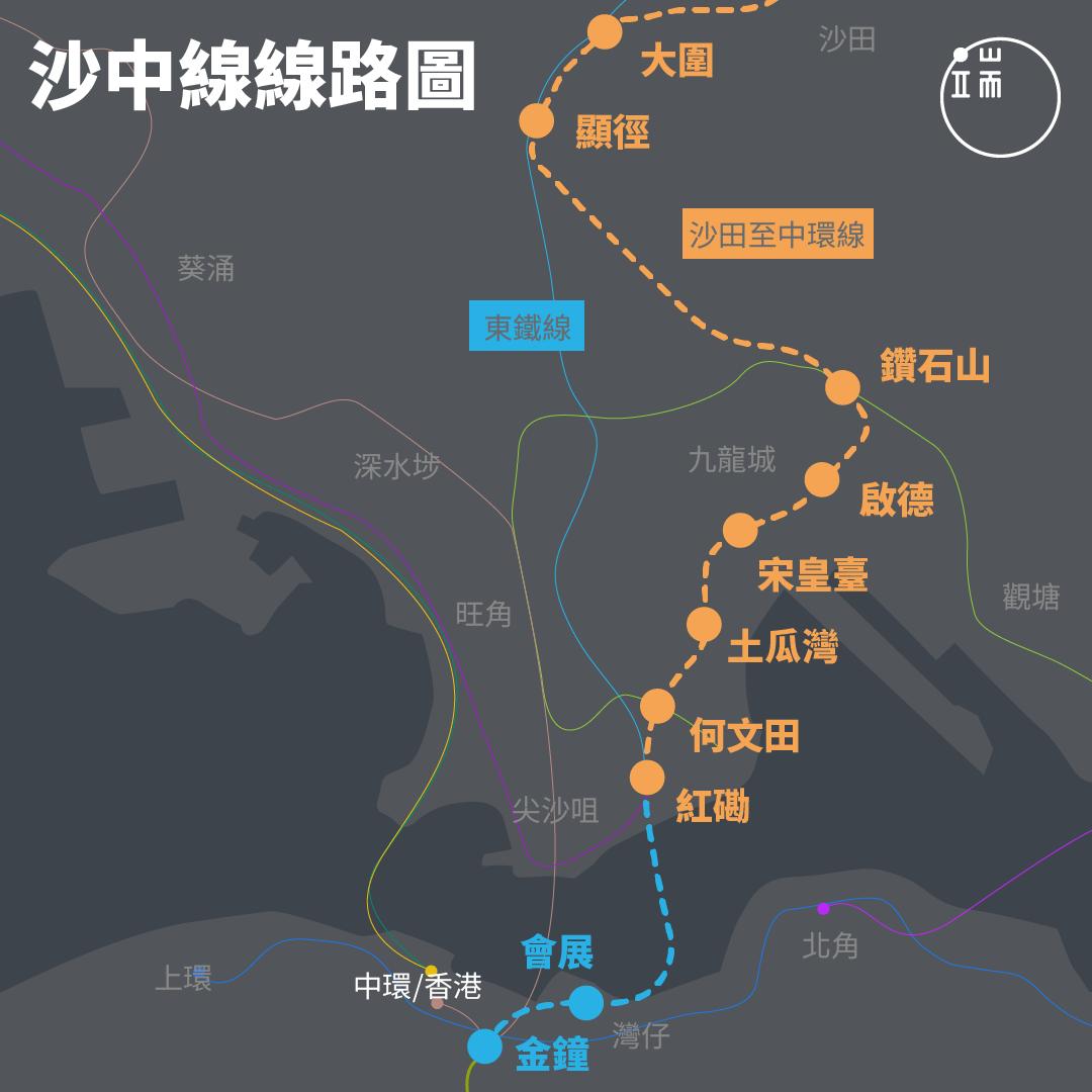 圖為沙中線工程走線圖及鐵路站。沙中線項目包括兩部分,大圍至紅磡段和紅磡至金鐘段,前者連接西鐵線及馬鐵線,後者為東鐵線的延伸。
