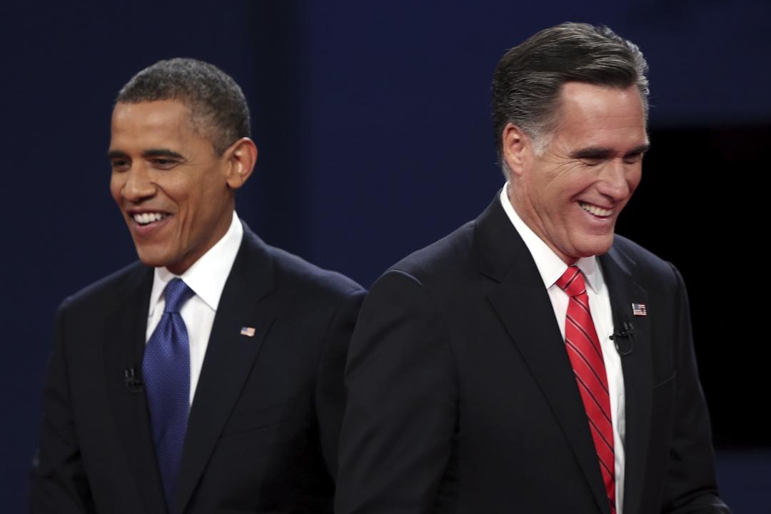 2012年10月3日,美國總統大選的一個論壇上,民主黨候選人奧巴馬與共和黨候選人羅姆尼。