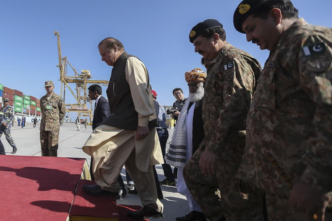 2016年11月13日,時任巴基斯坦總理謝里夫(Nawaz Sharif)出席中國投資的瓜達爾港開航揭幕典禮。