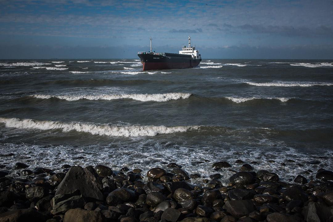 2019年1月9日,蒙古貨輪桃園外海擱淺,仍未拖走。