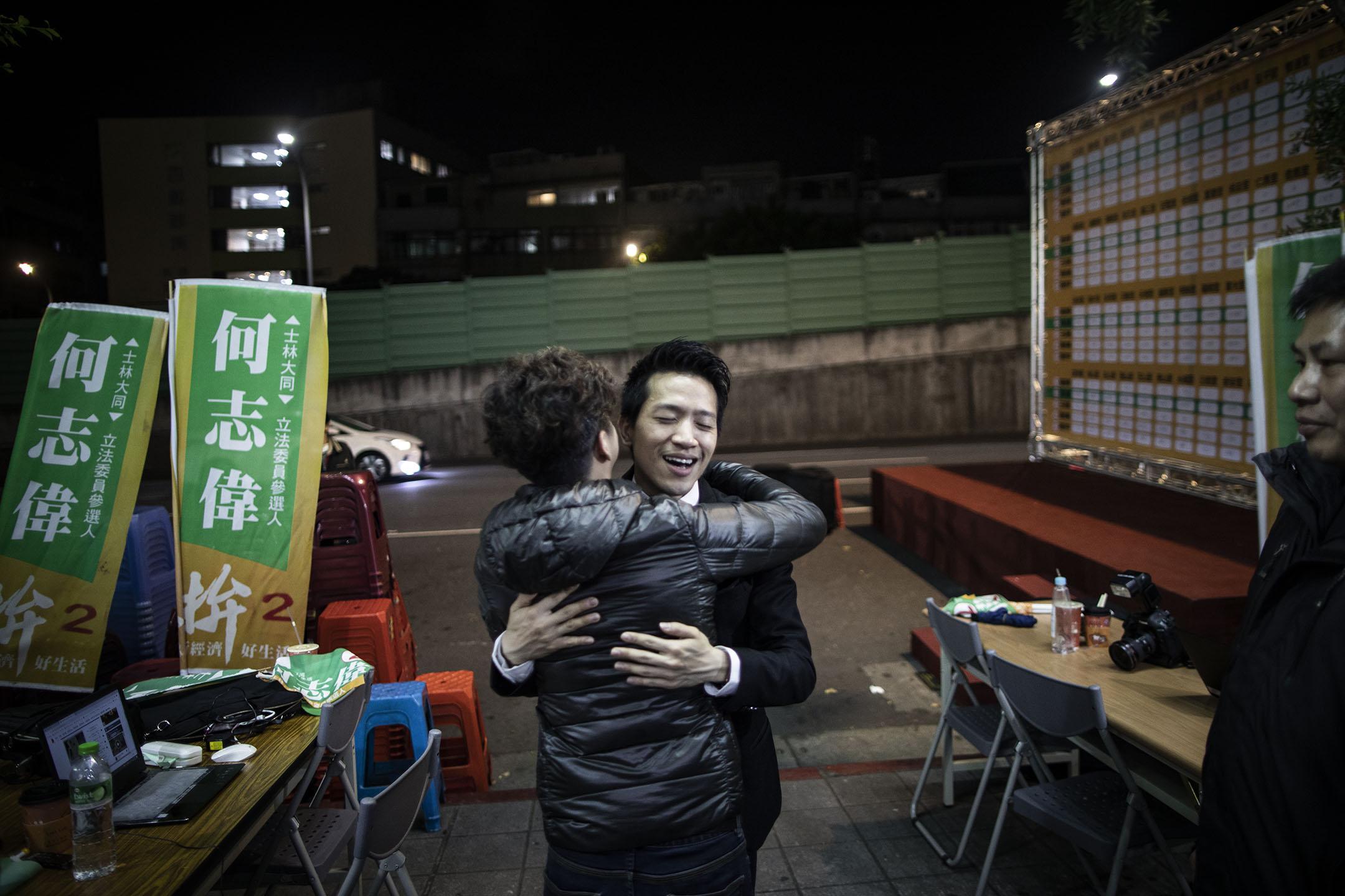 台北市立委補選,民進黨何志偉當選。 攝:陳焯煇/端傳媒