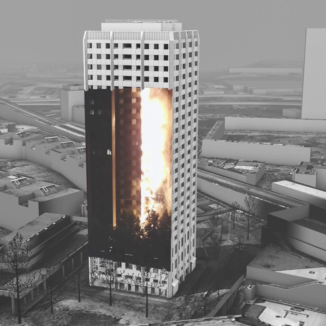 「格倫費爾媒體檔案館」平台,收集人們用智能手機或者相機拍攝下的視頻,並將它們放置在格倫費爾塔火災的3D模型中。 圖片來源:Forensic Architecture