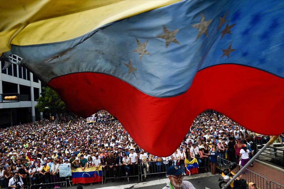 2019年1月,在委內瑞拉首都卡拉卡斯發生的一場反馬杜羅集會。