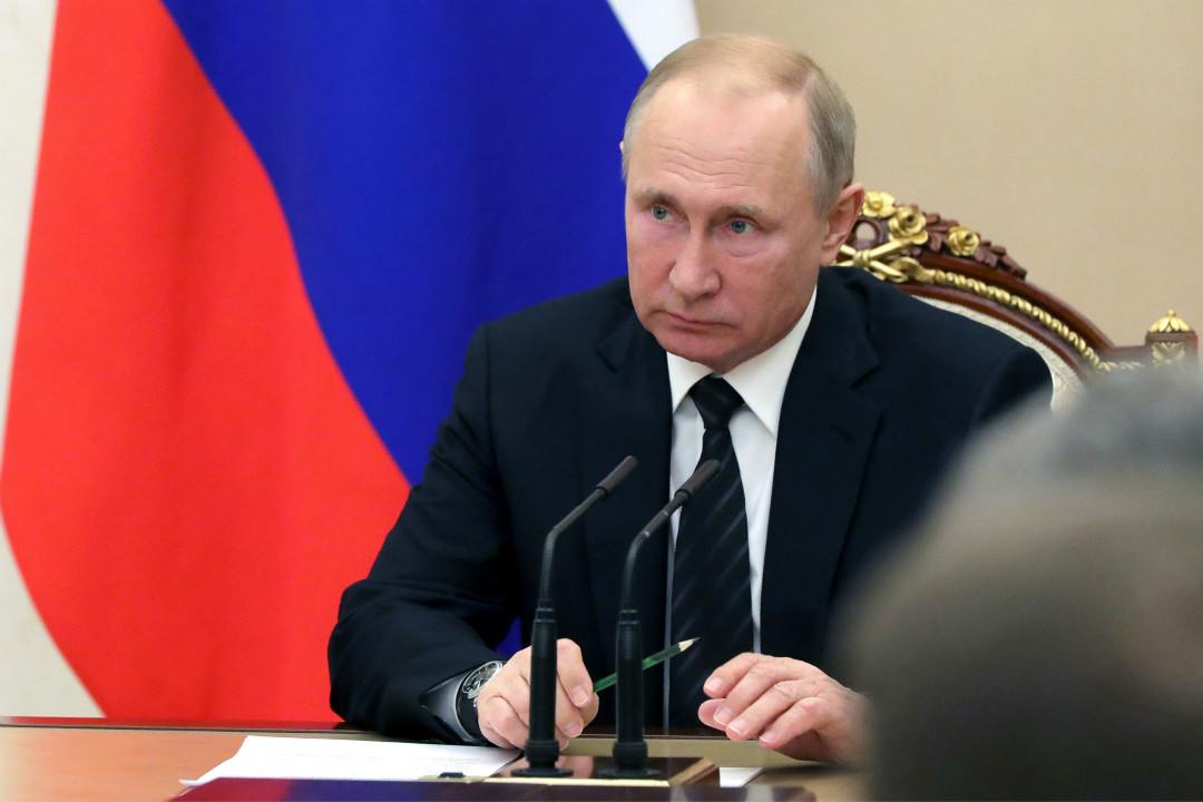 2019年2月8日,莫斯科,俄羅斯總統普京主持安全理事會常任理事會議。 攝:Mikhail Klimentyev/Getty Images