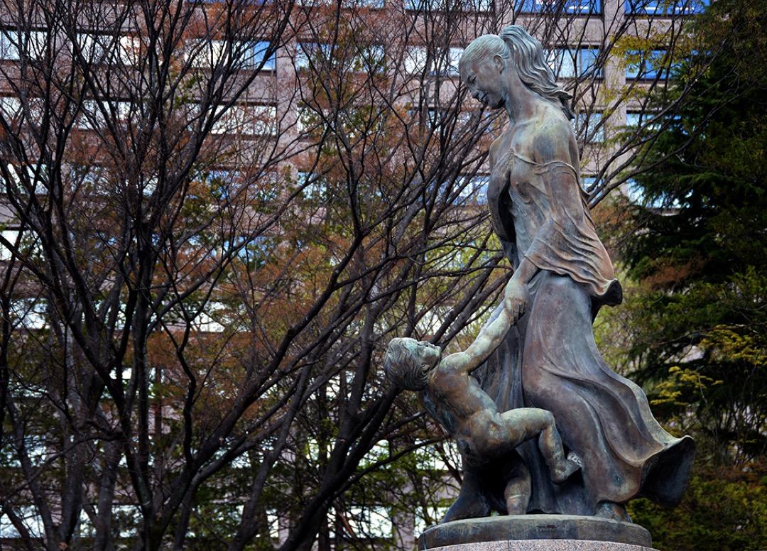 宮城縣知事村井嘉浩否認了縣政府在強制絕育手術上的責任。在縣政府前的勾當台公園佇立着和平母子像。