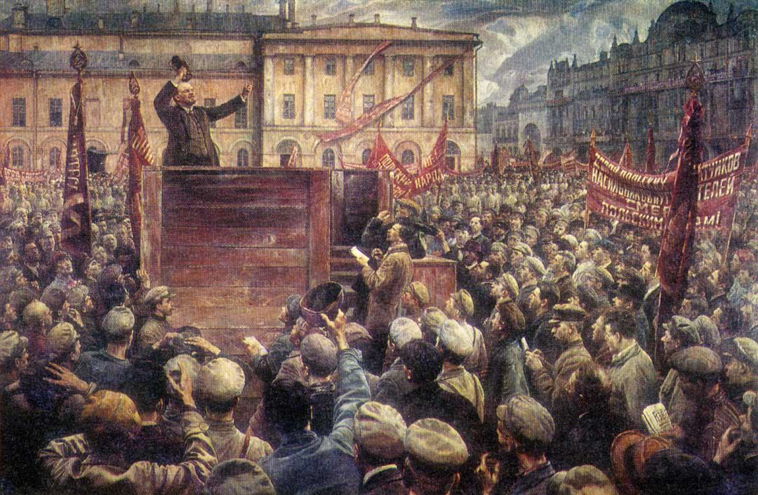 1920年5月5日,列寧在莫斯科參加五月集會的插圖。