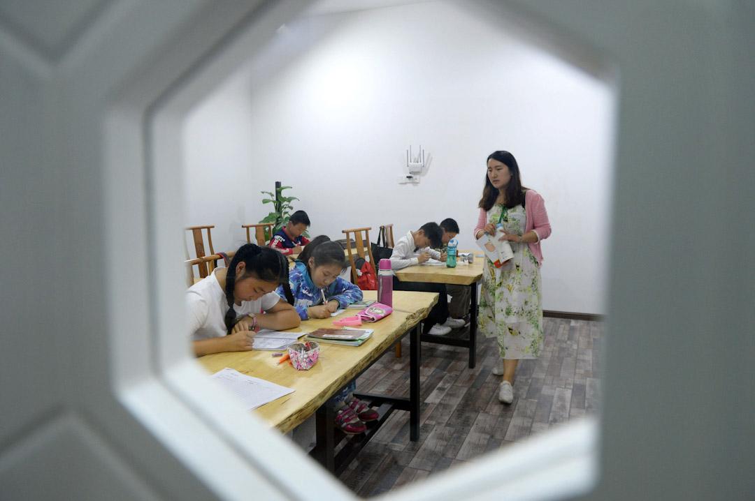 中國合肥市一家補習學校的一節奧數輔導課。 攝:Imagine China
