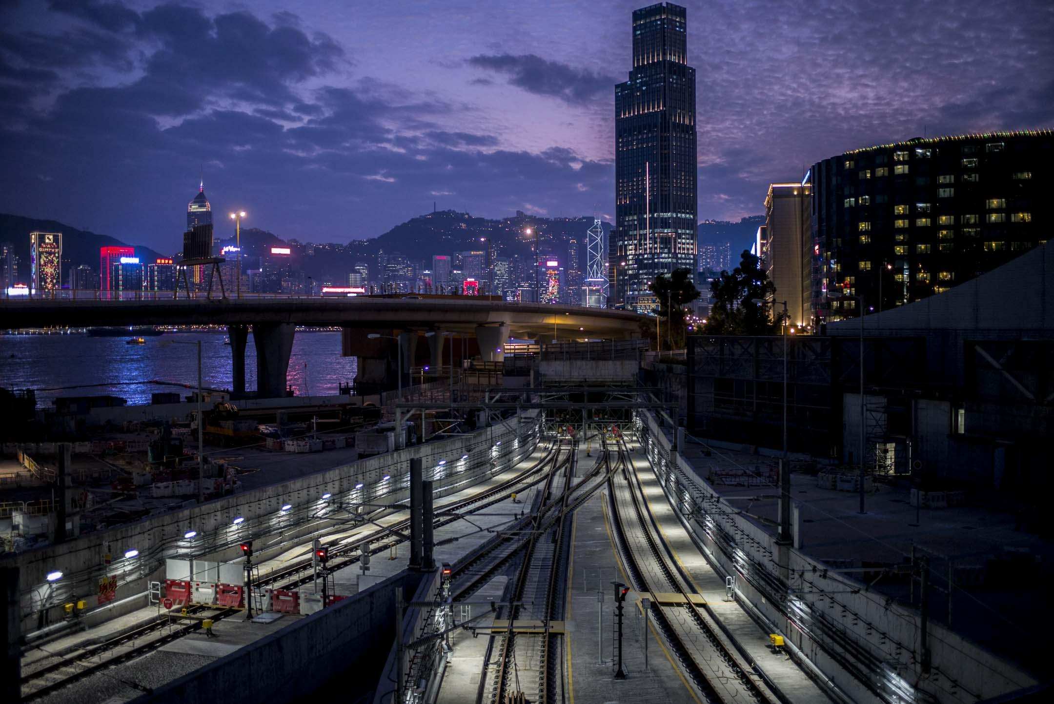 2019年2月1日,沙中線紅磡站施工地盤。 攝:林振東/端傳媒