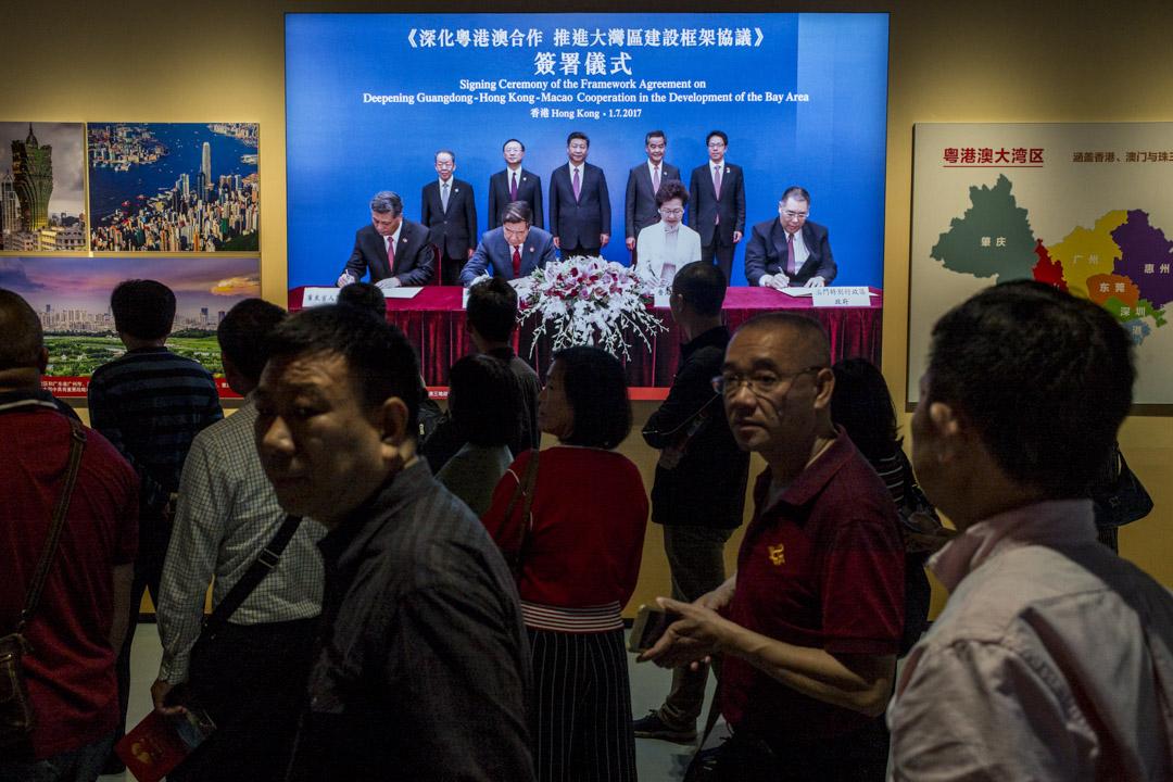 大潮起珠江——廣東改革開放40周年展覽上,有介紹大灣區發展的展區。 攝:林振東/端傳媒