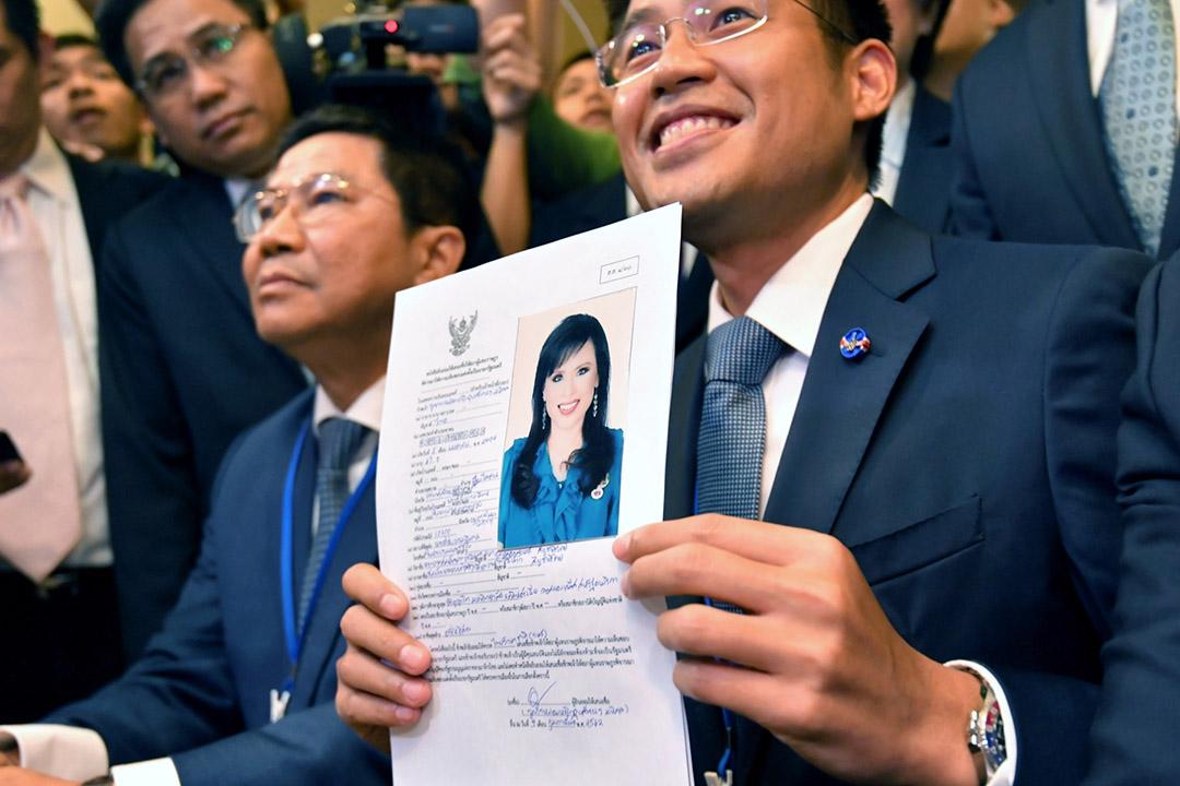 2月8日,泰國親前總理他信派的「泰愛國黨」正式向選舉委員會提交總理候選人名單,宣布其總理候選人為現任國王姐姐烏汶叻公主。 攝:東方 IC via EPA