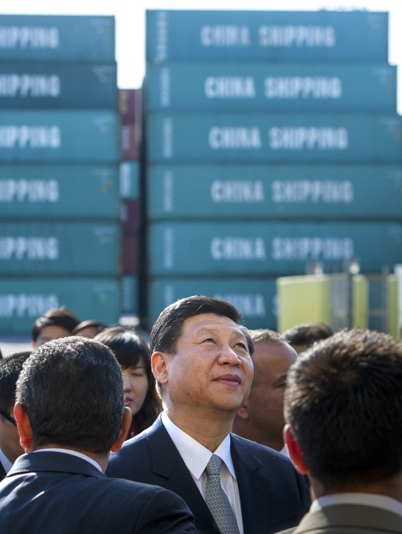 2012年2月16日,時任國家副主席的習近平訪問位於美國加州洛杉機港口。