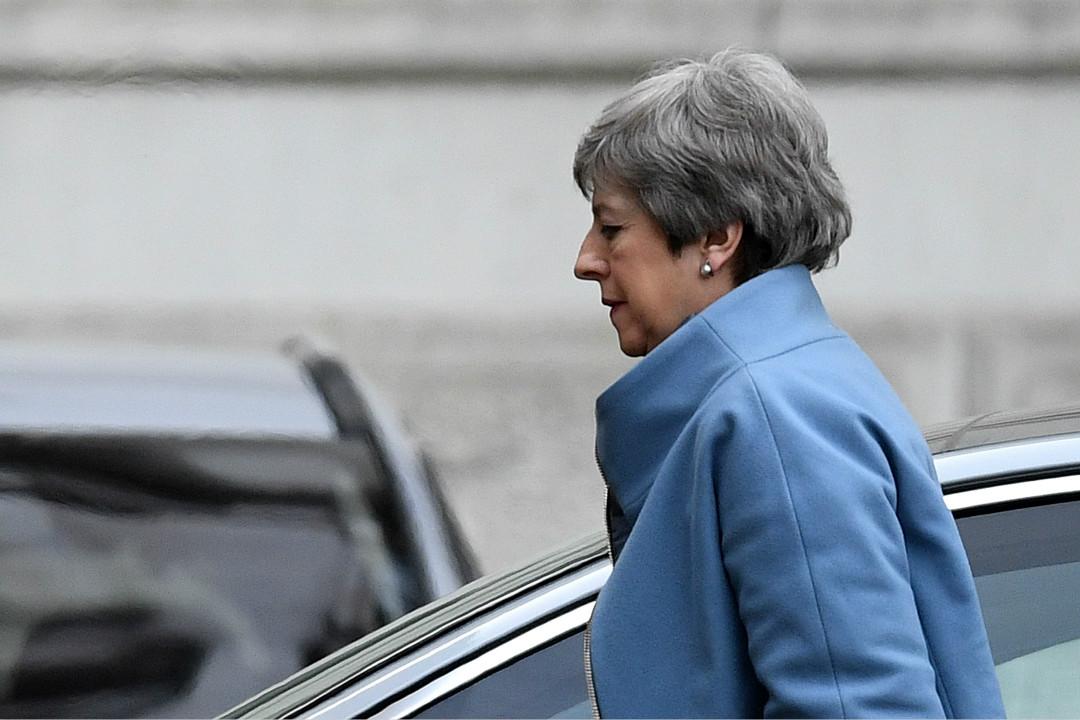 2019年3月18日,英國首相文翠珊(Theresa May)返回唐寧街。 攝:Leon Neal/Getty Images