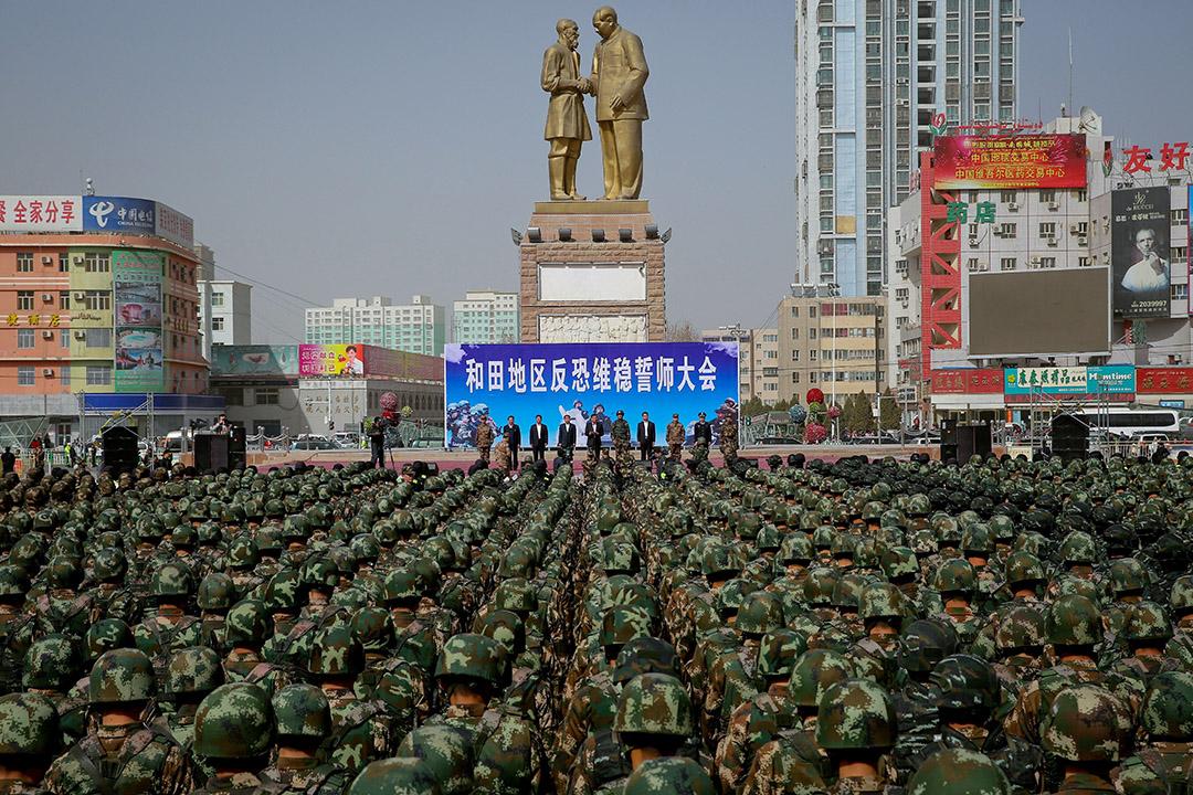 2017年2月27日,中國軍警在新疆維吾爾自治區和田舉行反恐集會。