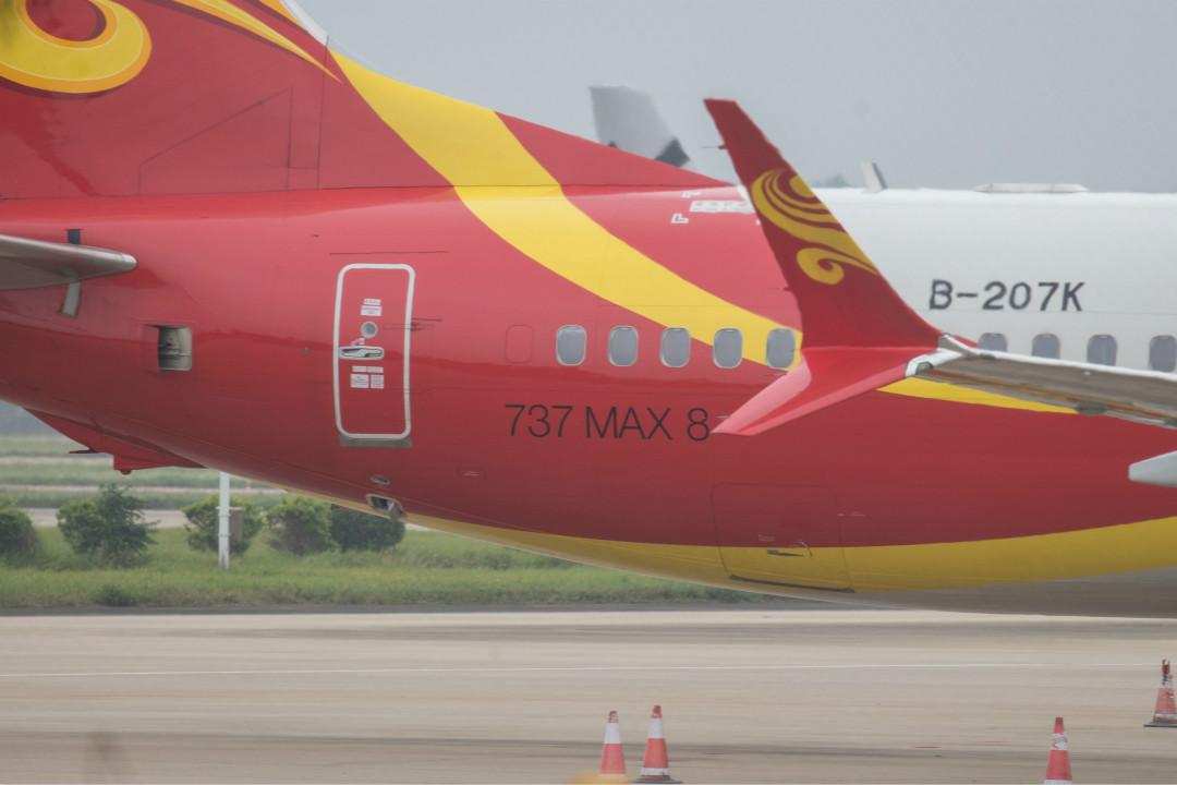 2019年3月11日,海南航空公司波音 737 Max-8 型號飛機停靠在海口市美蘭國際機場。 攝:Getty Images