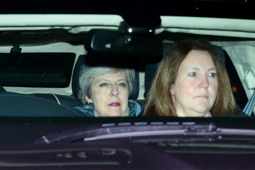 2019年3月13日,英國國會下議院再次否決脫歐協議後,首相文翠珊(Theresa May)離開國會。 攝:Jack Taylor/Getty Images