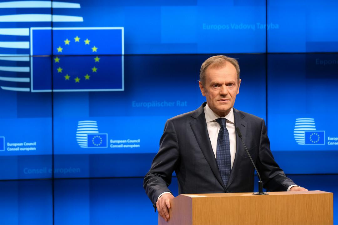 2019年3月20日,歐盟理事會主席圖斯克(Donald Tusk)在布魯塞爾舉行記者會。 攝:Sean Gallup/Getty Images