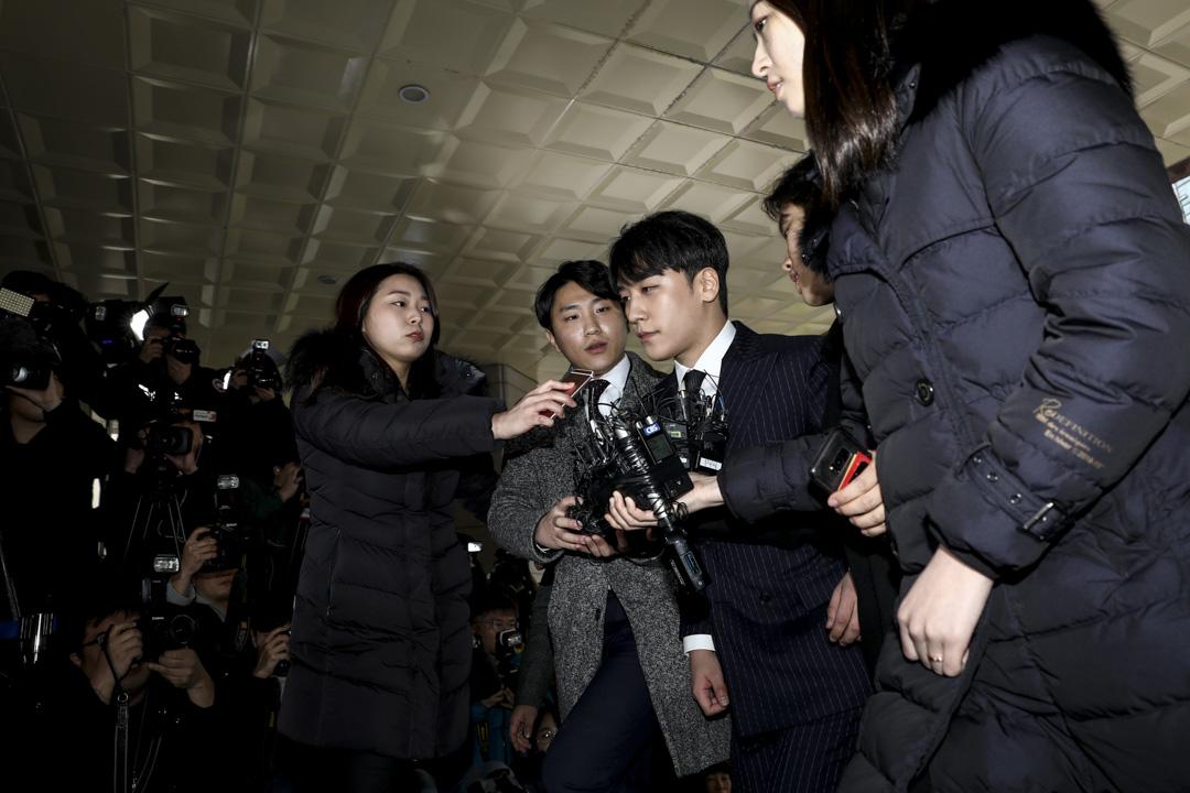 2019年3月14日,前BIGBANG成員勝利抵達首爾市警察局。  攝:Chung Sung-Jun/Getty Images